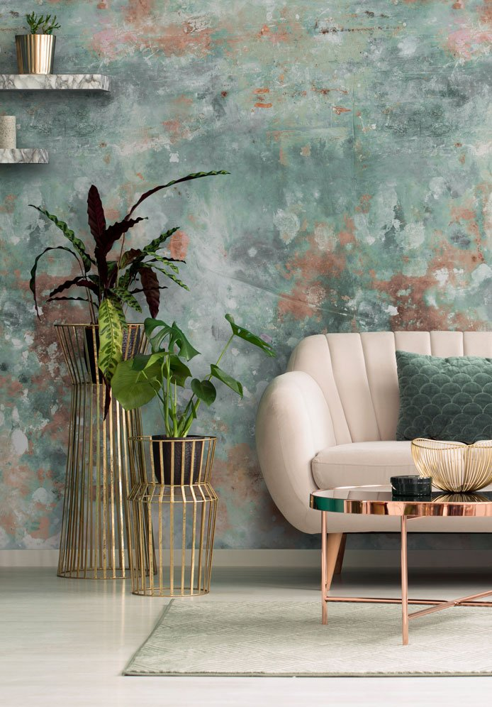 Green & Brown Distressed Shabby Chic Wallpaper hero image