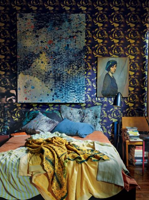 Maximalist bedroom wallpaper