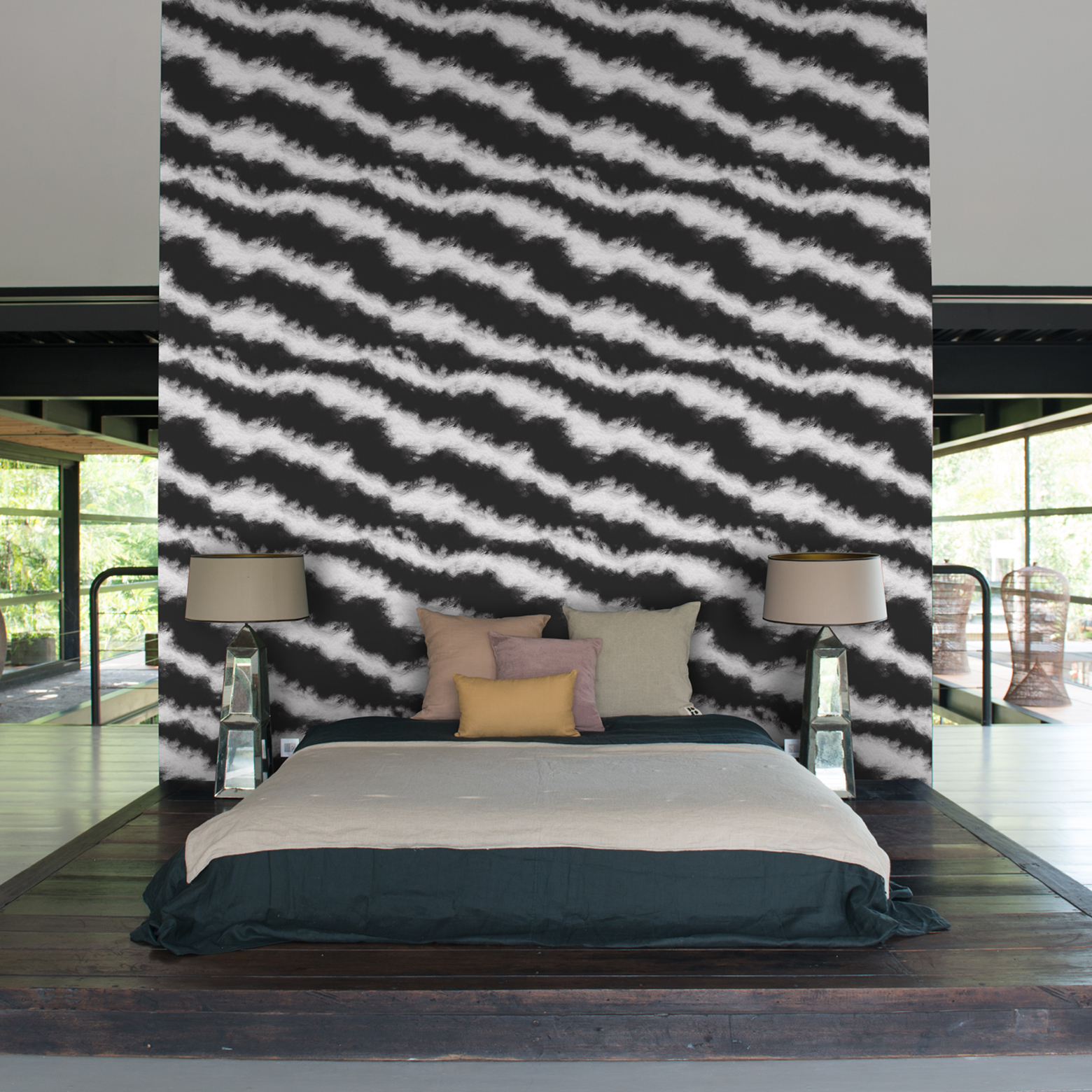 Black & White Modern Statement Stripe Wallpaper