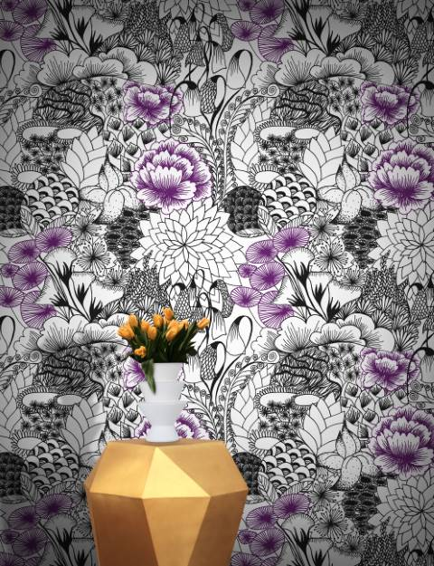Introduce Elegant Colours And Floral Beauty Into Your Home With Feathr Wallpapers Michiko Designs Modern Wallpaper Bloom Comes Accent