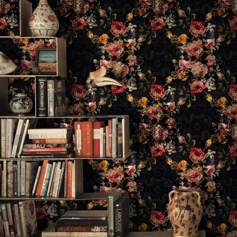 Black & Red Shabby Chic Floral Wallpaper