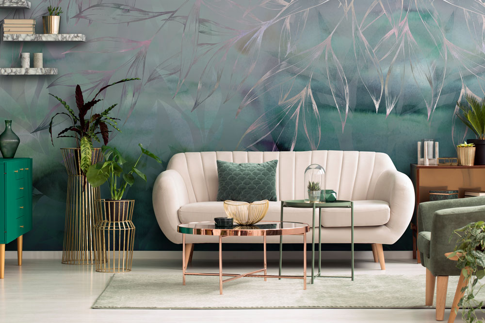 Green floral abstract wallpaper mural