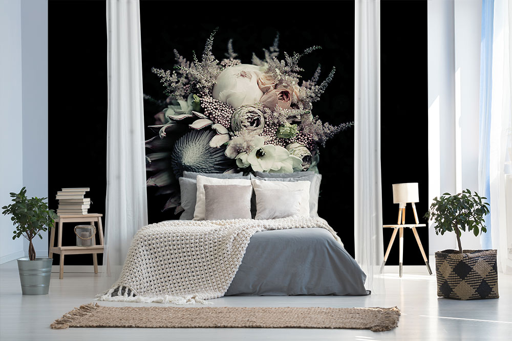 Black Flower Bouquet Wall Mural