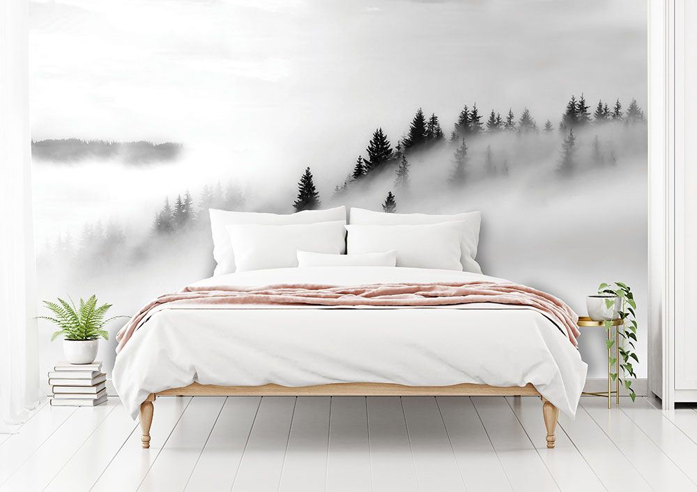 Grey Misty Forest Wall Mural