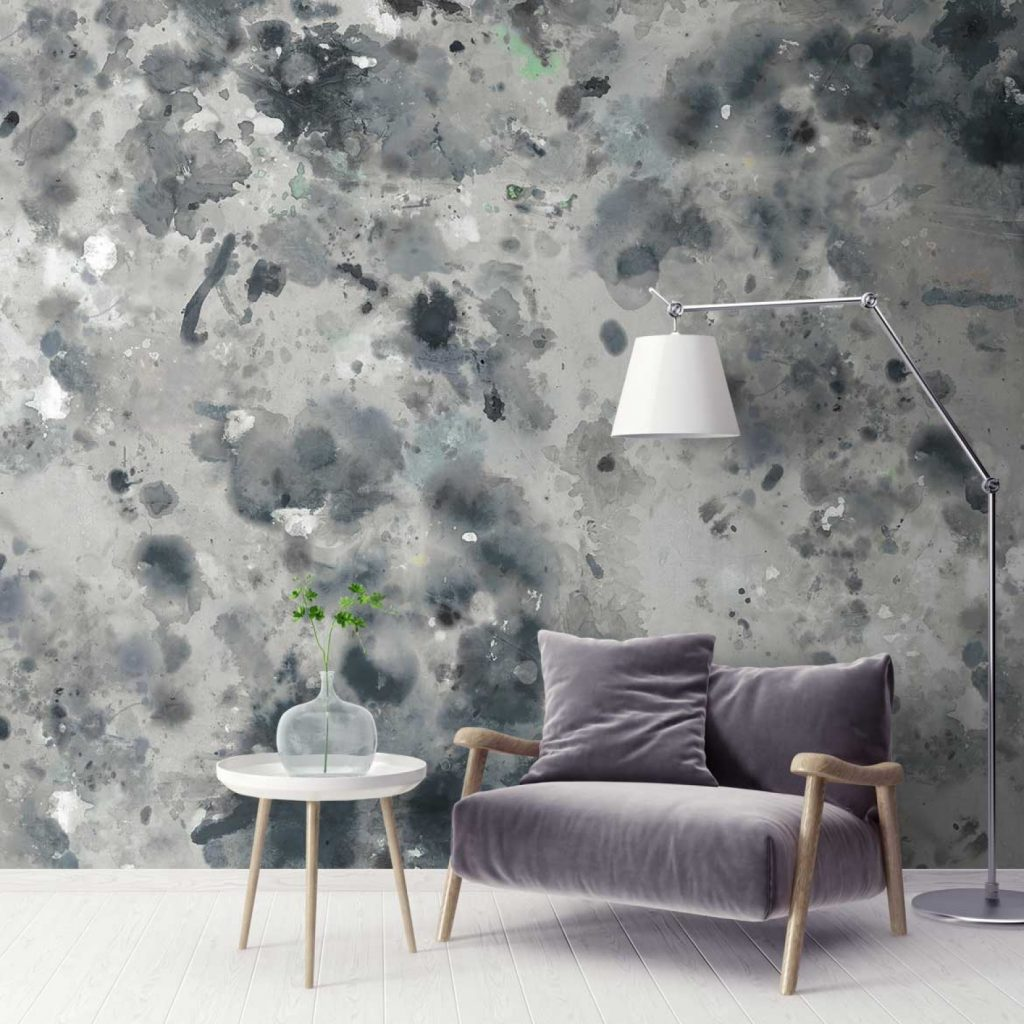 Grey Shabby Chic Watercolor Wall Mural