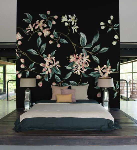 embroidered floral wall mural feathr. Black Bedroom Furniture Sets. Home Design Ideas