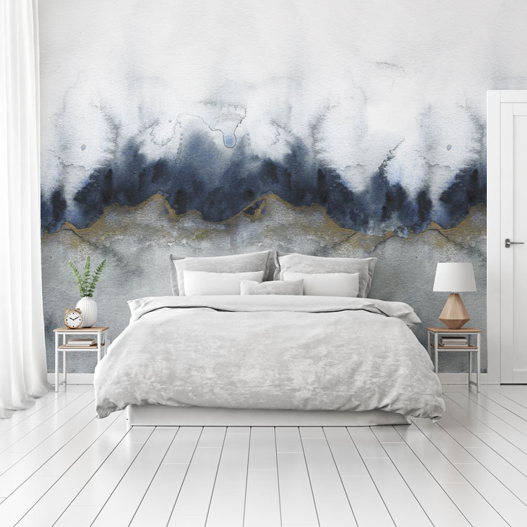 Gold Grey Abstract Luxury Wall Mural Feathr Wallpaper
