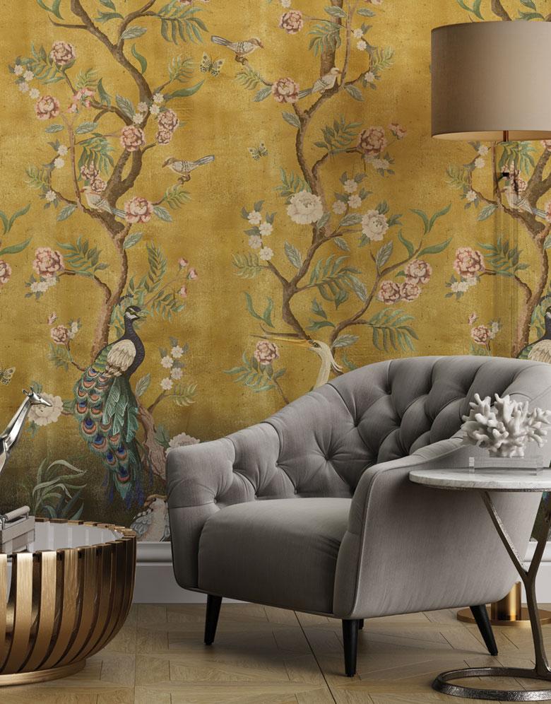 Yellow Beautiful Chinoiserie Wallpaper hero image