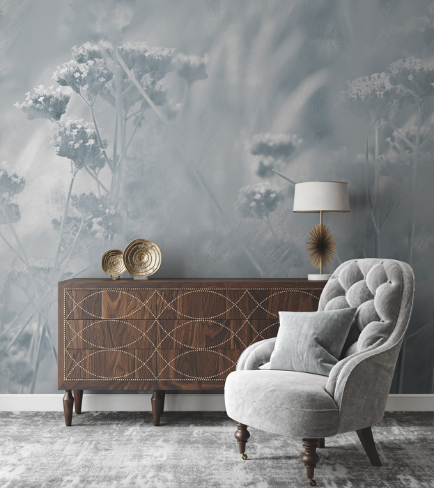 Blue & White Abstract Floral Wall Mural Hero Image