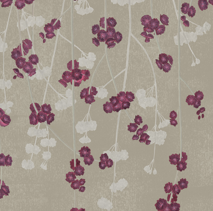 Brown & Red Cherry Blossom Wallpaper detail Image