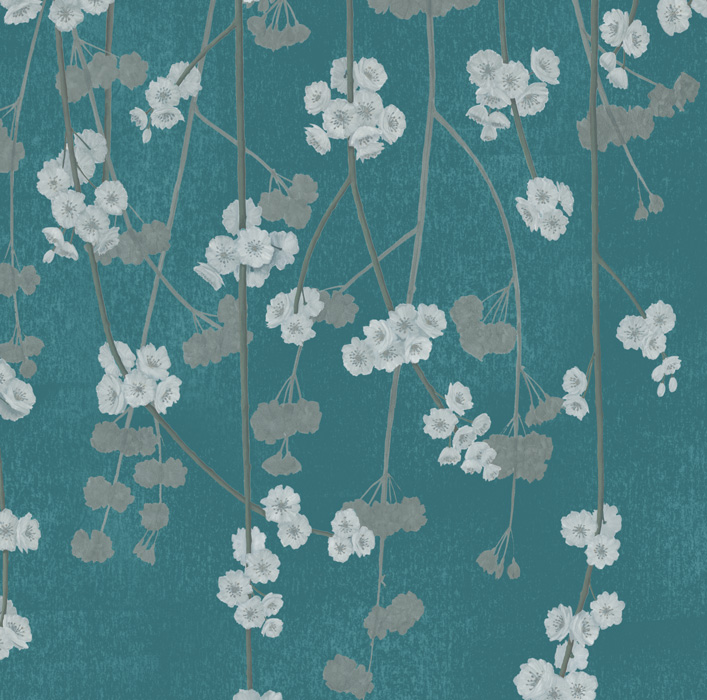 Teal Cherry Blossom Wallpaper detail Image