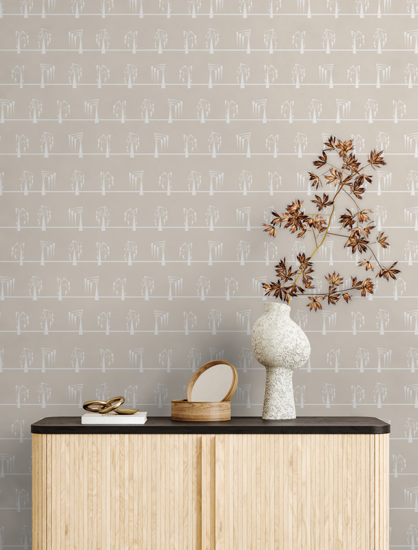 Cream and White Mid Century Pattern wallpaper and cupboard