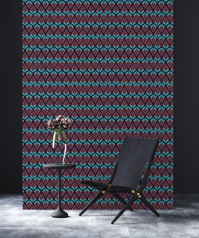 Blue and Red Geometric Diamond wallpaper with black chair