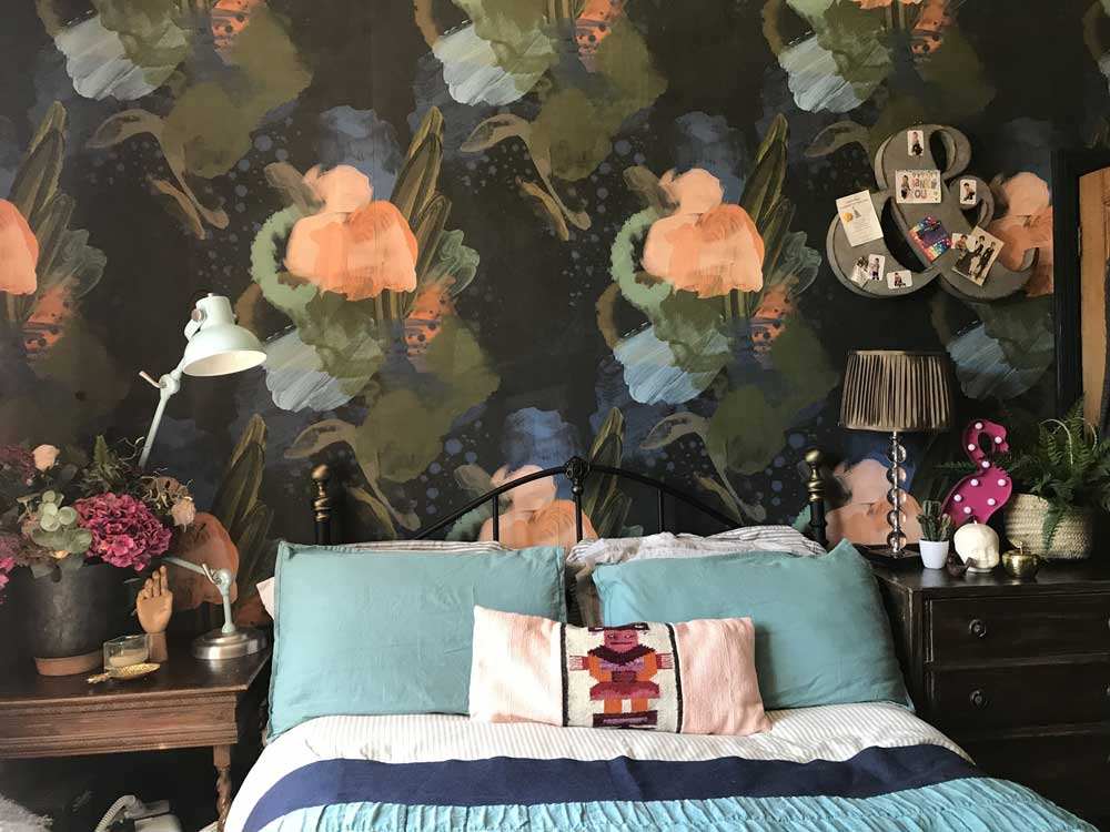 Wallpaper in maximalist bedroom