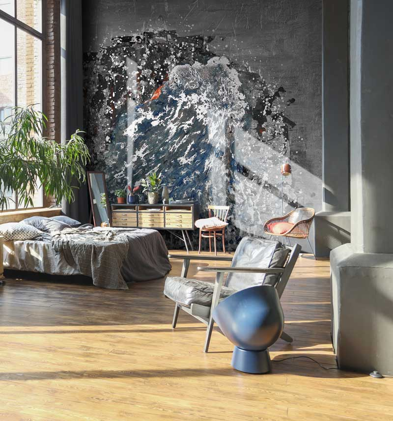 abstract feature wall mural