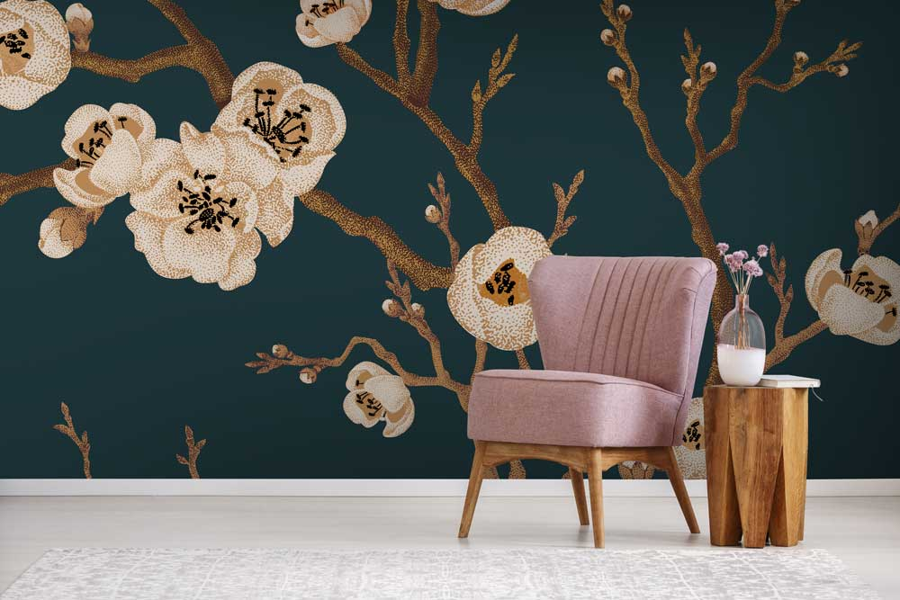 Japanese floral wall mural