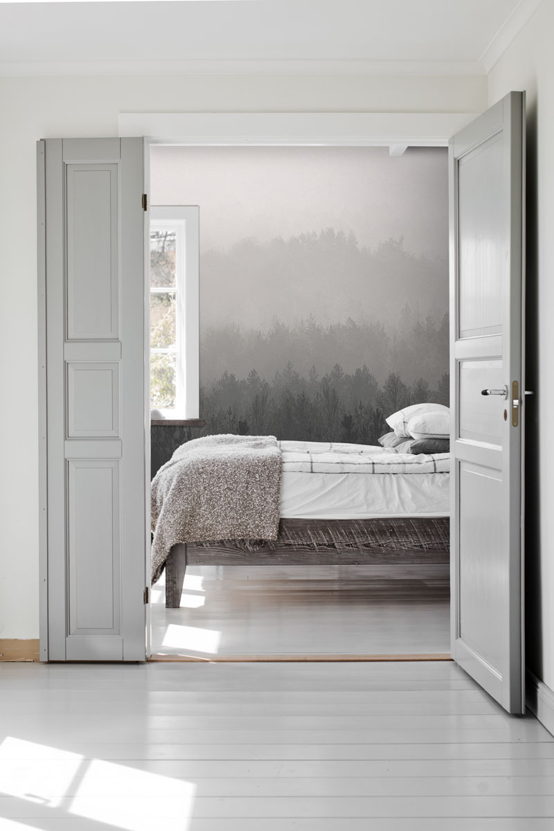 Grey Vintage Forest Wall Mural Feathr Wallpapers