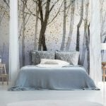 Blue & White Watercolour Forest Wall Mural hero image
