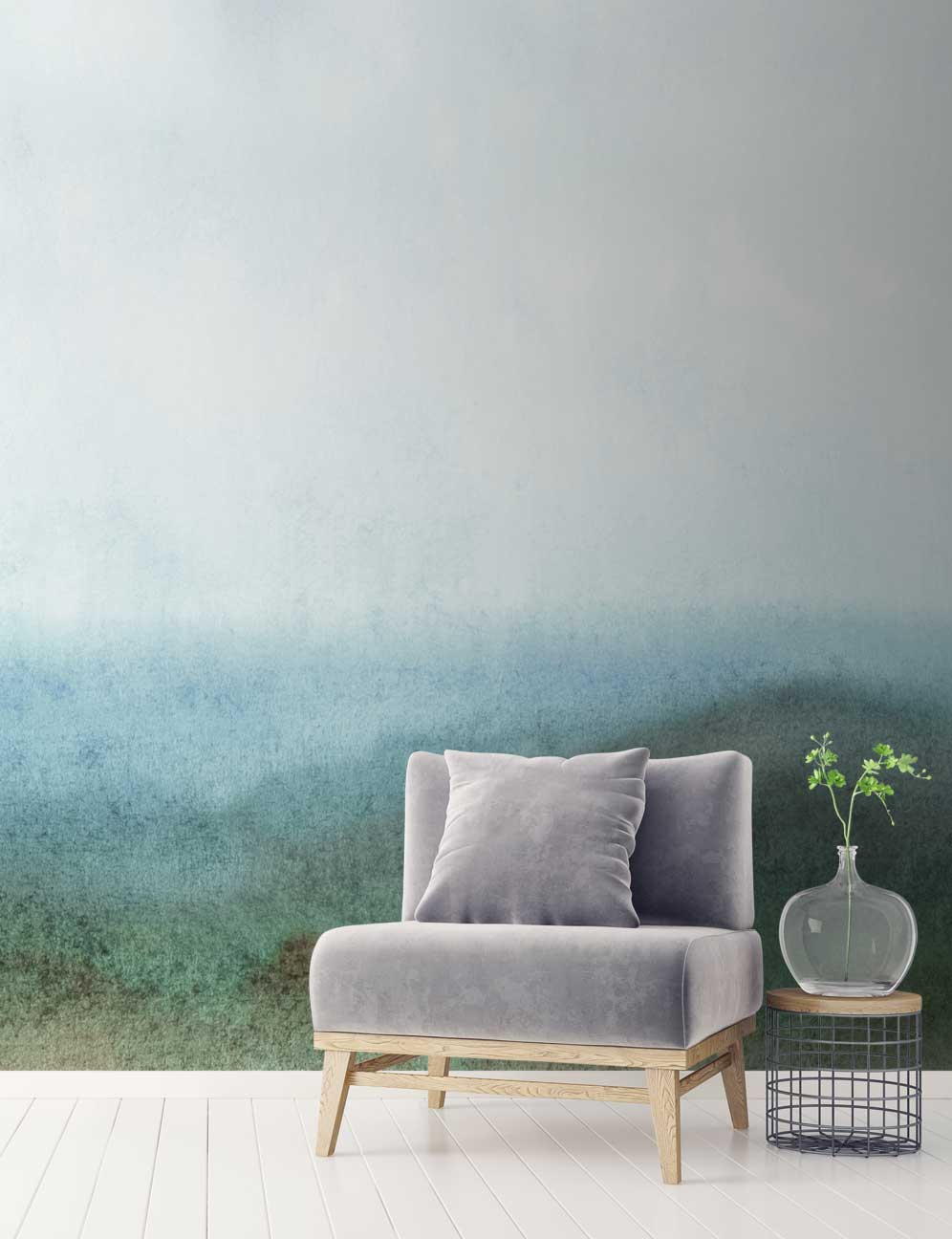 Green White Abstract Forest Wall Mural Feathr Wallpapers
