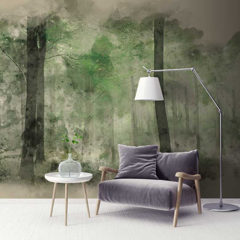 Green Cream Stag Forest Wall Mural Feathr Wallpapers