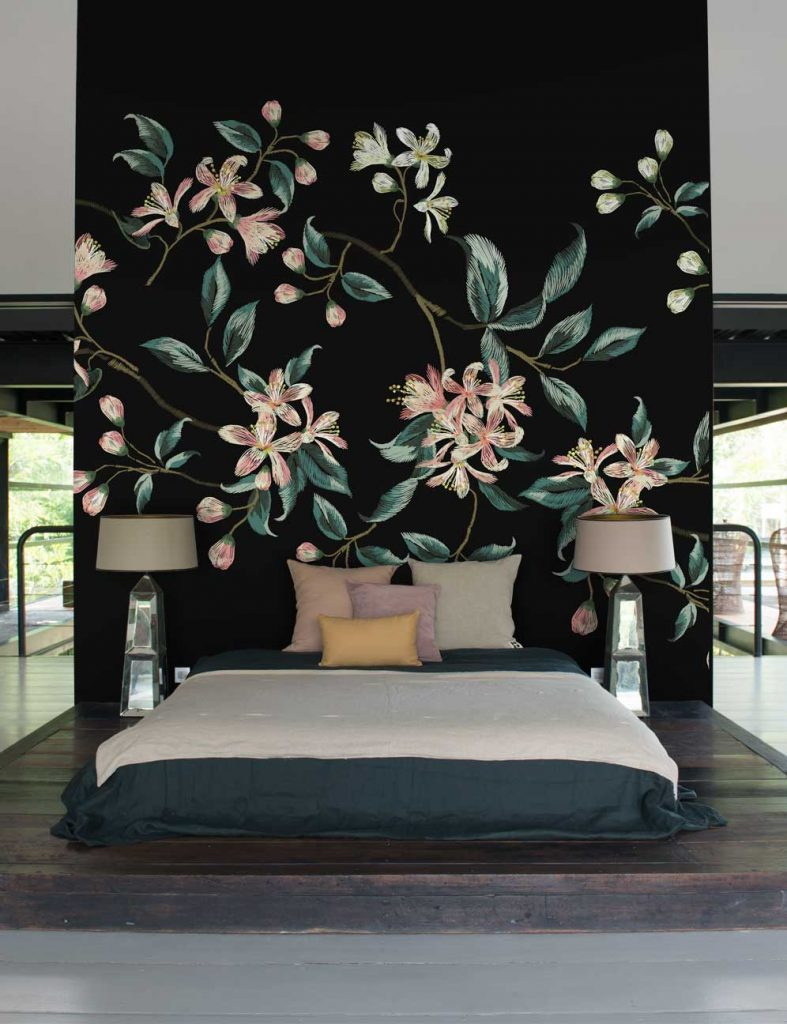 Black Embroidered Flower Wall Mural