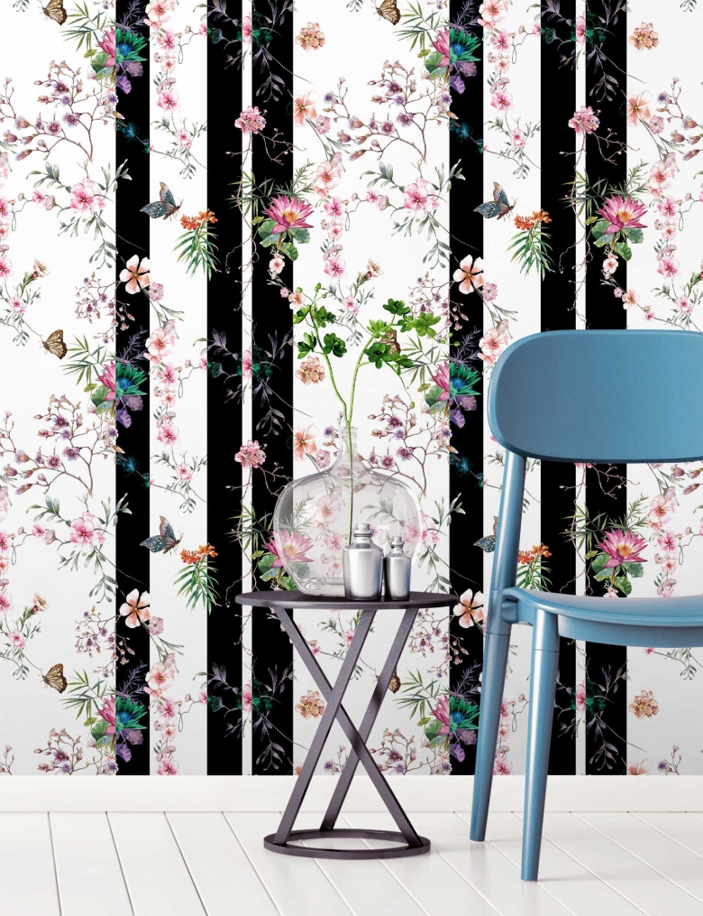 Black & White Beautiful Butterfly Stripe Wallpaper