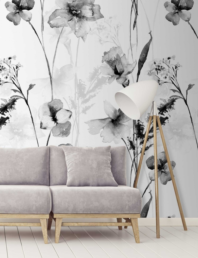 Black & White Romantic Watercolour Flower Wallpaper