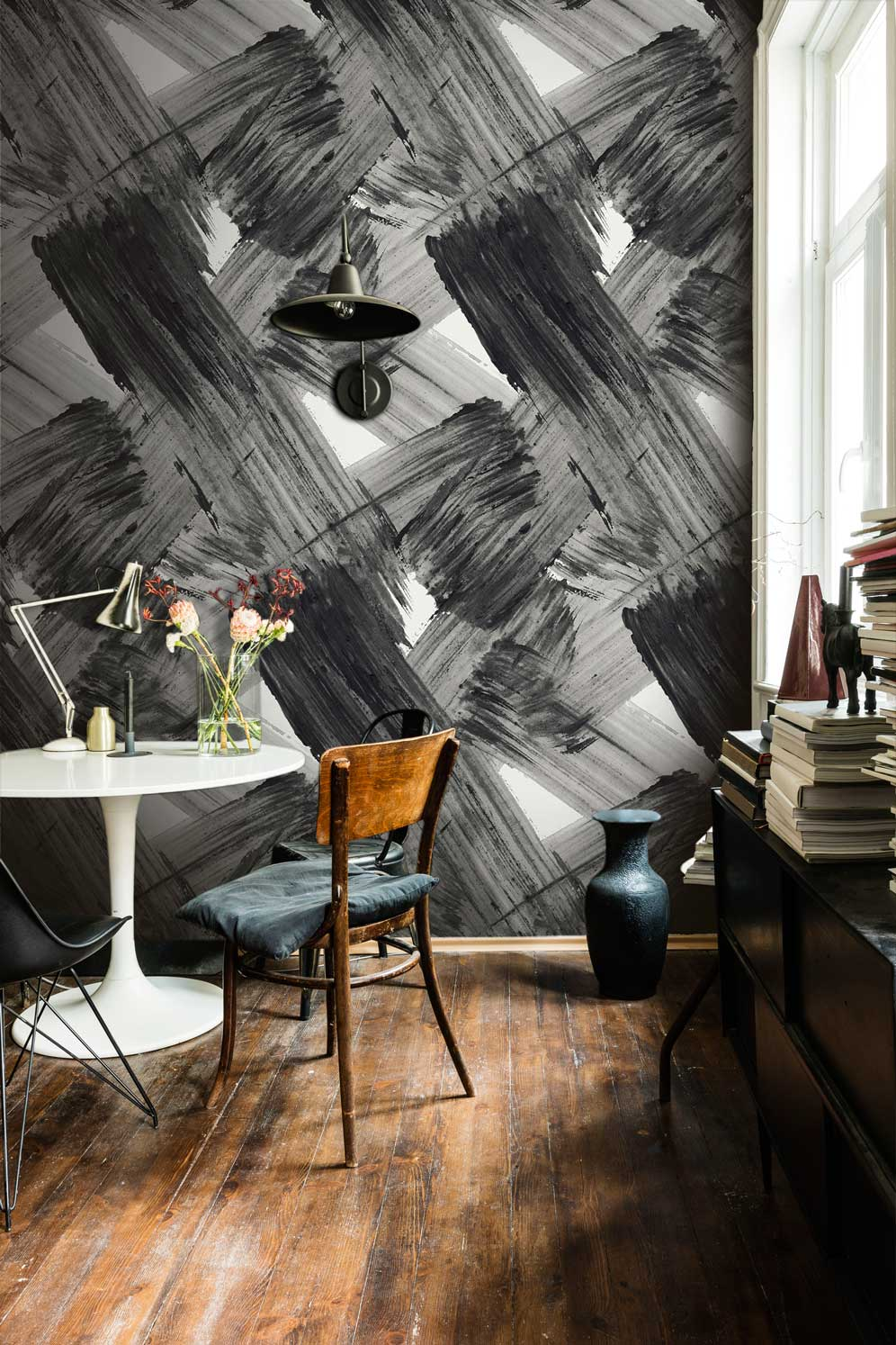 Black & White Contemporary Bold Abstract Wallpaper