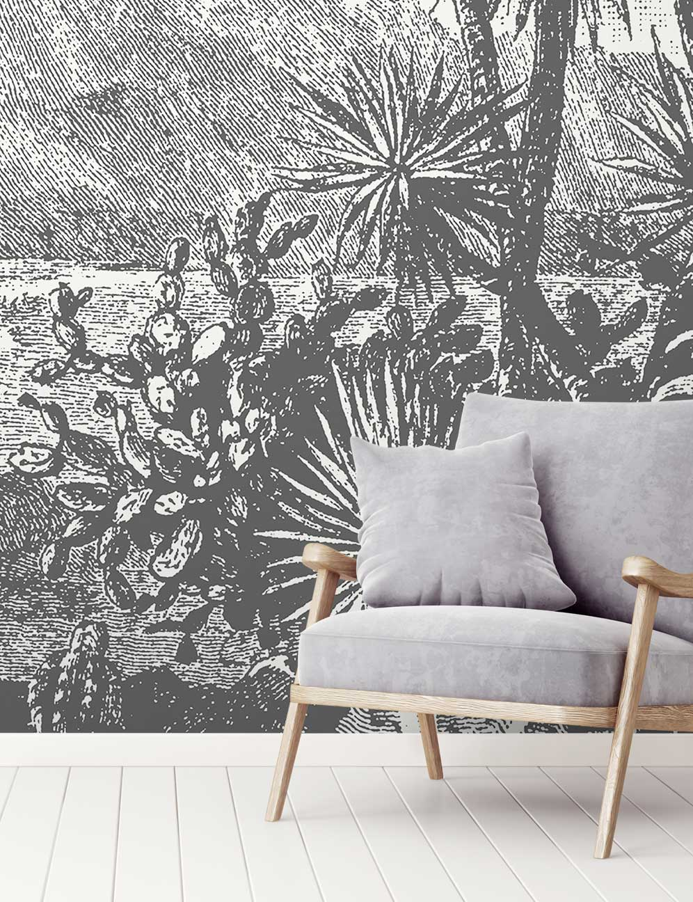 Black & White Beautiful Mountain Wallpaper Mural