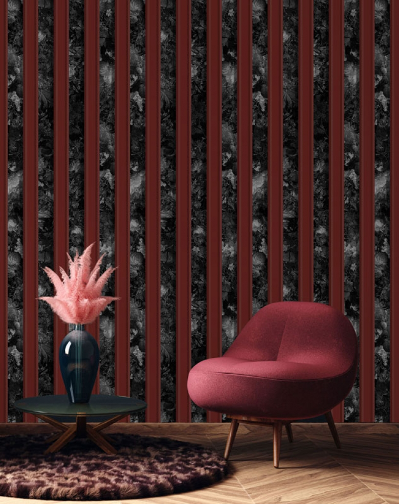 Black & Red Floral Stripe Wallpaper