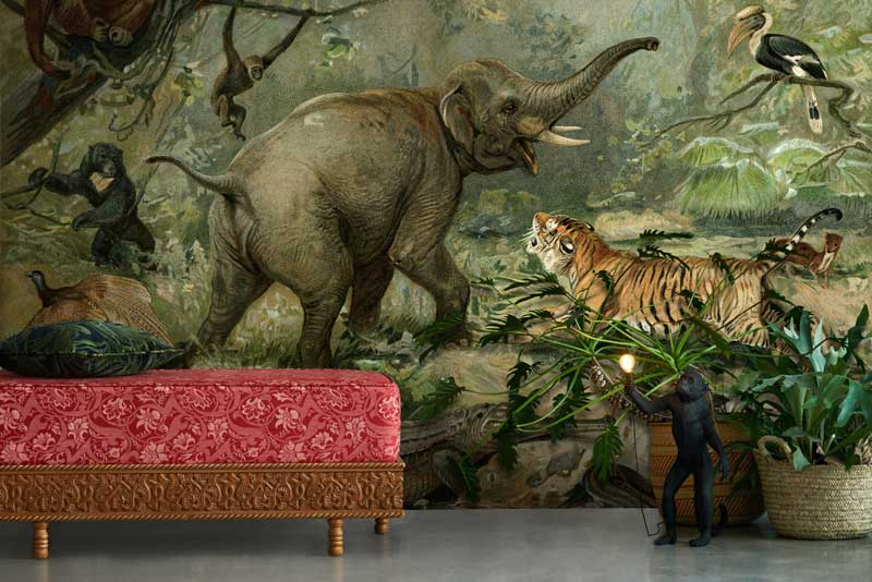 vintage jungle feature wall mural