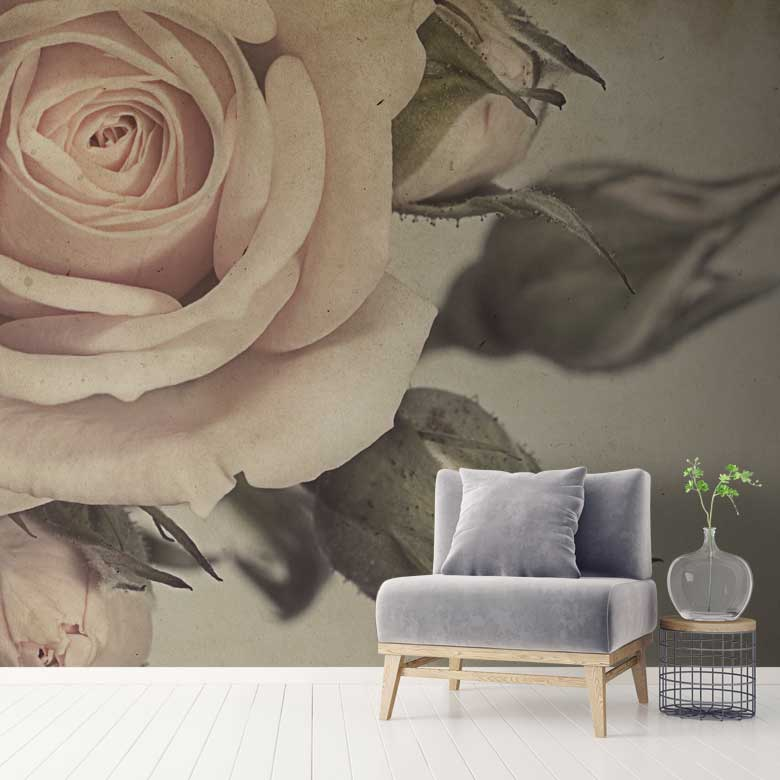 Vintage Rose Wall Mural Stone Monochrome