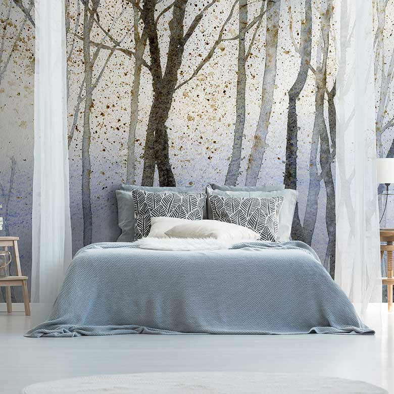Watercolour forest wall mural FEATHR