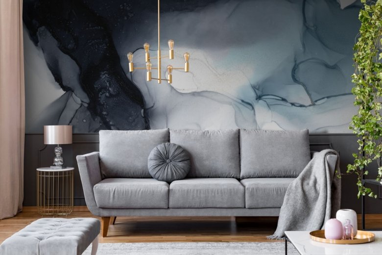 gold abstract wall mural