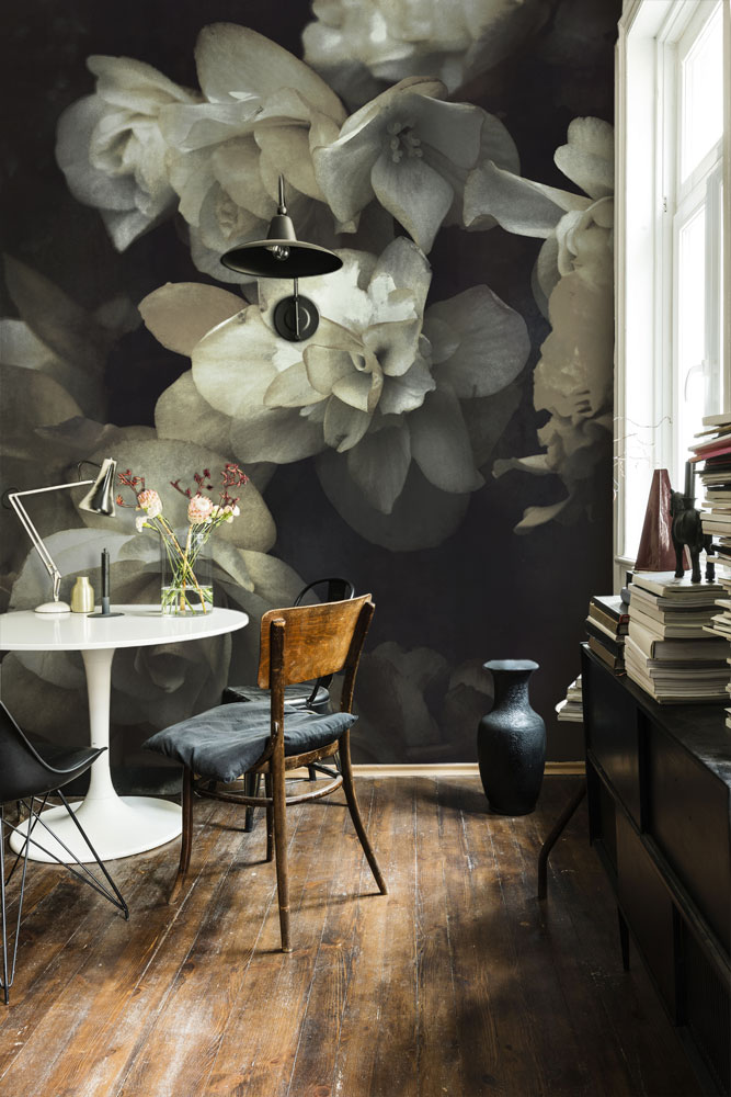 Cream & Black Floral Wallpaper Mural