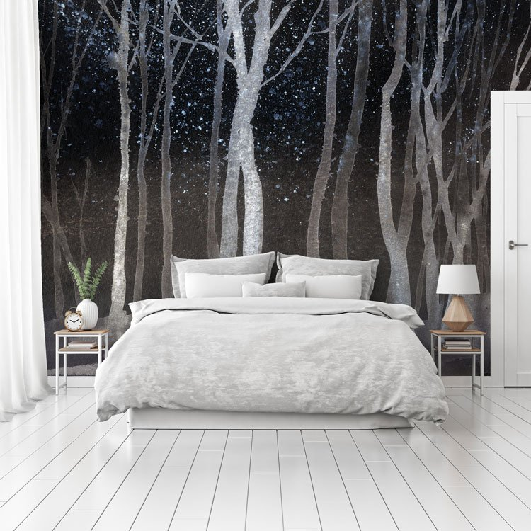 Black & White Watercolour Forest Wall Mural