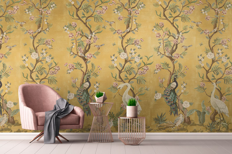 Living room wallpaper with art
