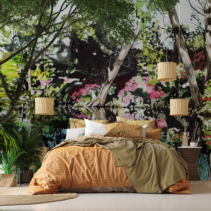 beautiful forest lake wall mural