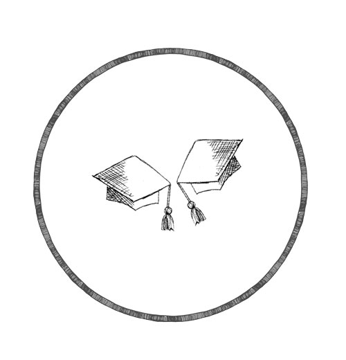 Finnish mortarboards illustration