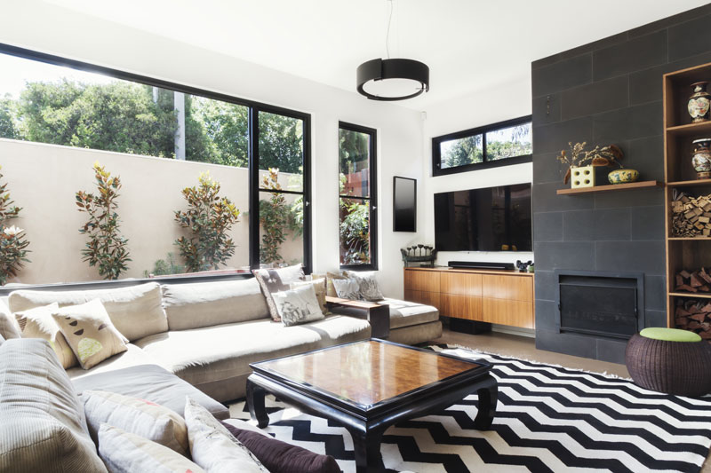 sofa and coffee table in designer home