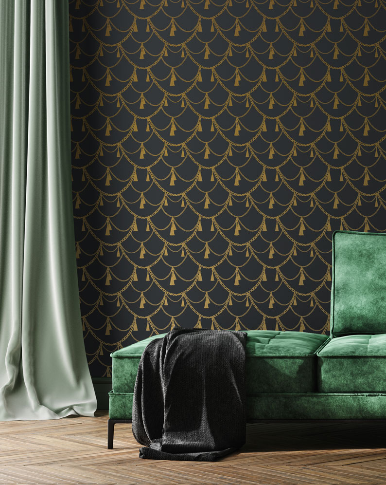 Living room wallpaper maximalist style
