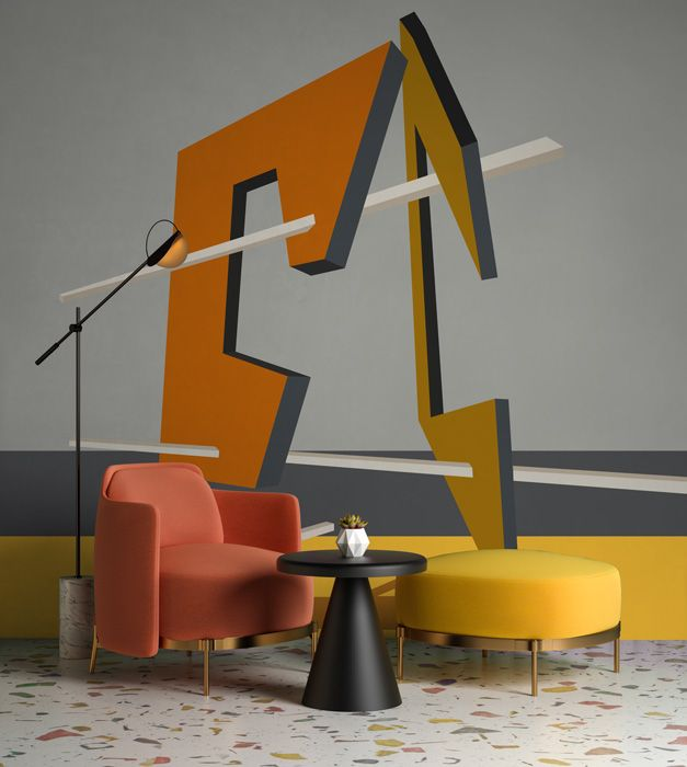 Grey and yellow abstract geometric wall mural